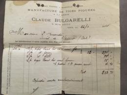 NICE FACTURE DE LA MANUFACTURE DE TIGES PIQUEES A LA SERIE CLAUDE BULGARELLI 5 RUE D'EFLY 1921 - Frankreich