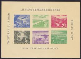 Germany - Entwürfe Luftpostmarkenserie BERLIN WEST Vignette (6v) M/S - MNH - Erinnofilia