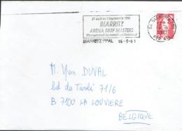 Flamme Biarritz Arena Surf Masters 16/8/91 Sur Lettre Vers La Belgique Du 16/8/1991 - Marcophilie (Lettres)