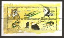 Mozambique 1999 N° 1378 / 83 ** Insectes, Coléoptères, Chouette, Grand-duc, Criquet, Serpentaire, Oiseaux Pygargue Aigle - Mozambique