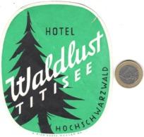 ETIQUETA DE HOTEL  -HOTEL WALDLUST TITISSE  -HOCHSCHWARZWALD  -ALEMANIA (2 PEQUEÑAS ROTURAS) - Etiquetas De Hotel