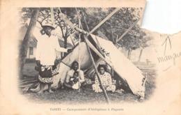 Océanie.  Polynésie Française    . Tahiti  Campement D'indigènes A Papeete          (Angle Manquant Voir Scan) - Tahiti