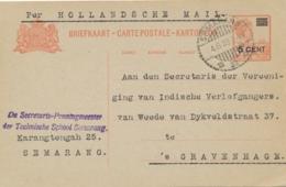 Nederlands Indië - 1929 - 5 Cent Opdruk Op 12,5 Cent Wilhelmina, Briefkaart G42 Van Semarang Per Hollandse Mail Naar NL - Nederlands-Indië
