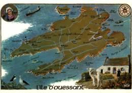 CPM - OUESSANT - Carte ILLUSTREE De L'île - Edition Y.R.Caoudal - Ouessant