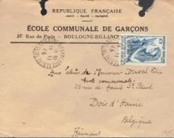 Enveloppe De L'École Communale Des Garçons Boulogne-Billancourt Vers L'École Communale De Bois-d'Haine (Belgique), 1946 - Documents Historiques