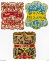 Lot De 3 étiquettes Anciennes - Superbes Litho Chromo E. Pichot - Fin Du XIXème !! TOP !! - Etiketten