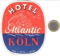 ETIQUETA DE HOTEL  - HOTEL ATLANTIC  -KÖLN  -ALEMANIA - Etiquetas De Hotel