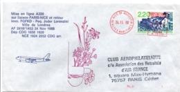 1er Vol Paris Nice 1988 Par Airbus A320 - Erstflug Inaugural Flight - Posta Aerea