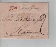 CBPN59/ Période Française Précurseur LAC Daté De Eupen 1813 Griffe Rouge Eupen 96 > Hodimont Port 2 - 1794-1814 (French Period)