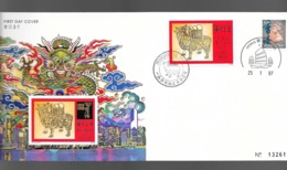 HONG KONG. Enveloppe 1er Jour De 1997 (FDC). Année Du Boeuf + Carte - Chinese New Year