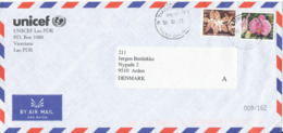 Laos Unicef Cover Sent To Denmark 8-5-2003 With Nice Orchids Stamps - Laos