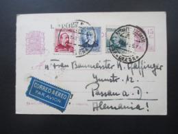 Spanien 1936 Kurz Vor Dem Bürgerkrieg GA Sinnbilder Der Republik Mit Zusatzfrankaturen Als Luftpost Nach Passau - Verschlussmarken Bürgerkrieg