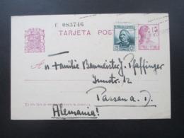 Spanien 1936 Kurz Vor Dem Bürgerkrieg GA Sinnbilder Der Republik Mit Zusatzfrankatur Nach Passau - 1931-50 Briefe U. Dokumente