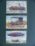 Lot 3 Cpa Fantaisie Violette Gaufrée Dirigeable Bateau  Et Automobile 190601907 - Autres