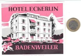 ETIQUETA DE HOTEL  -HOTEL ECKERLIN  -BADENWEILER  -ALEMANIA - Etiquetas De Hotel