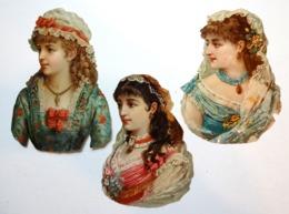3 CHROMOS DECOUPIS.....FEMMES AVEC COIFFES EN DENTELLES...MANTILLE - Autres