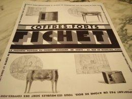 ANCIENNE PUBLICITE COFFRE FORT FICHET 1929 - Advertising