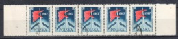 1957 Poland Polen: Mi.1031 Fi. 886 , Bogenteil A 5 Bfm, Gestempelt/cancelled, Lenin/Fahne, Oktober-Revolution, S. Scan - 1944-.... Republik