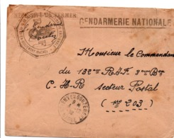 Gendarmerie St-Rémy-en-Bouzemont Marne - Lettre En Franchise 1939 - Grenade - Military Postmarks From 1900 (out Of Wars Periods)