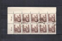 1957 Poland Polen Pologne, Mi.1042 / Fi. 862, Yv. 918, O Gestempelt, Bogenteil A 10 Bfm, Andrzej Strug, S. Scan - 1944-.... Republik