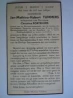 Doodsprentje Jan-Mathieu-Hubert Tummers Bree 1883 Smeermaas 1944 Oudstrijder 1914-18 ?? Echt Christina Porteners - Devotion Images