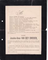 ALOST AALST GAND Jossine ANne VAN DER SMISSEN 1833-1898 Famille WILLEQUET WASHER Enterrement Civil Usé - Todesanzeige