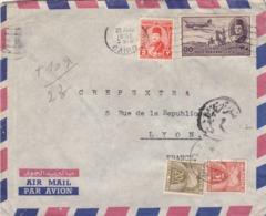 COVER. EGYPTE. 1951. CHARLES EID LE CAIRE TO LYON FRANCE. 32 Mills. DUE + 10gr. TAXE GERBE FRANCE 23F - Égypte