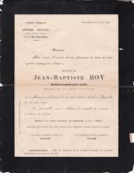 Gendarmerie Capitaine Retraité Jean-Baptiste ROY Monceau Namur 1823 Bruxelles 1894 Gendarme - Décès