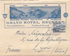 LETTRE SUISSE. 23 6 51. GRAND HOTEL BRUNNEN POUR LYON FRANCE. 40c - Svizzera