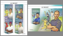 TOGO 2019 MNH Cricket Kricket Criquet M/S+S/S - OFFICIAL ISSUE - DH1944 - Cricket