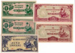 BIRMANIE // Set Of Five Note // XF / SUP - Billets
