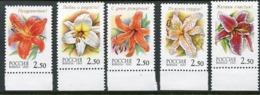 RUSSIA 2002 Lilies Singles MNH / **.  Michel 966-70 - 1992-.... Federazione