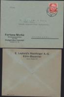 Hindenburg 12PF Rouge Perforé FW Fortuna Werke Et LN Leybold's Nachfolger CAD Stuttgart 13 9 34 Et Koln 11 9 34 - Allemagne