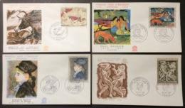 355- Lascaux 1555 Gauguin 1568 Bourdelle 1569 Renoir 1570 FDC Premier Jour Lot 4 Lettre Enveloppe - FDC
