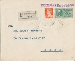 CIVITAVECCHIA / ROMA 12-7-1940 LETTERA ESPRESSO RACCOMANDATA  LIRE 1,25 + IMPERIALE 1,75 - Poststempel