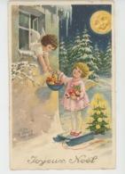 """ENFANTS - LITTLE GIRL - MAEDCHEN - Jolie Carte Fantaisie Fillettes Angelots Avec Jouets Lune Humanisée De """"Joyeux Noël """" - Navidad"""