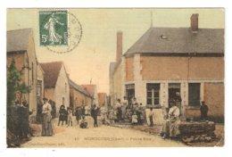 CPA Colorisée Aspect Toilé - 18 MOROGUES Environs D'Henrichemont - Petite Rue - Belle Animation - Other Municipalities