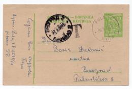 1958 YUGOSLAVIA, CROATIA, PULA TO BELGRADE, POSTAGE DUE T, STATIONERY CARD, USED - Entiers Postaux