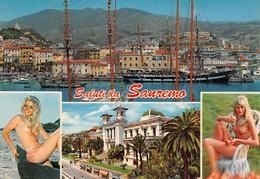 Cartolina Sanremo Vedute Pin Up Timbro Paracadutisti D'Italia - Imperia
