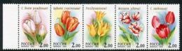 RUSSIA 2001 Tulips In Strip MNH / **  Michel 889-93 - 1992-.... Federación