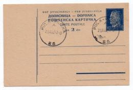 1952 YUGOSLAVIA, CROATIA, TPO 25 PULA-RIJEKA, TITO, STATIONERY CARD, USED - Entiers Postaux