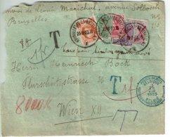 """Lettre De BRUXELLES (23-8-23) à WIEN XII Taxée Pour Timbres Ayant Servis + Obl. """"Postes-Rebuts Belgique Du 25-VIII-1923"""" - Belgio"""