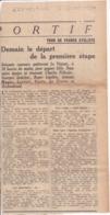 """LE VESINET 2 Juillet 1934 - Départ Tour De France Cycliste - Coupure Article Journal  """"L'Excelsior"""" Voir Vente 870502891 - Altri Comuni"""