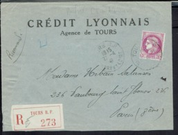 Fr - 1941 - Crédit Lyonnais De Tours - Cérès N° 376 Perforé C.L Pour Paris Sur Enveloppe En Recommandé - B/TB - - Perforés