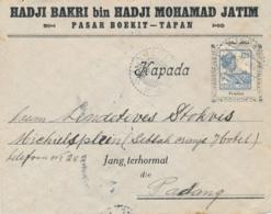 Nederlands Indië - 1921 - 12,5 Cent Wilhelmina Met Sierkader Op Business Cover Van LB TEPAN Naar Padang - Nederlands-Indië
