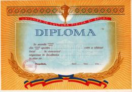 Romania, 1980's, Lot Of 4 Blank Sport Diplomas - UCFS - Diplomas Y Calificaciones Escolares