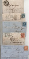 5 Lettres / 5 Affranchissements Différents / SAINT PAUL FENOUILLET, PAU, MAS-CABARDES, NIMES, MARSEILLE / 1841 à 1869 - Marcophilie (Lettres)