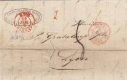 LETTRE SUISSE. 5 MAI 49. AUGUSTE ET VICTOIRE SNELL GENEVE POUR LYON. GENEVE 1 FERNEY 1. 1.  TAXE TAMPON 5 - ...-1845 Prephilately