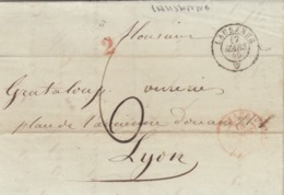 LETTRE SUISSE. 17 MARS 49. WENGER FILS LAUSANNE POUR LYON. ENTREE FRANCE VAUD. 2.  TAXE TAMPON 6 - ...-1845 Prephilately