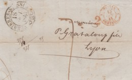 LETTRE SUISSE. 17 OCTOBRE 1845. LAMBELET VERRIERES-SUISSES. POUR LYON. 2. ENTREE SUISSE PONTARLIER. TAXE TAMPON 7 - ...-1845 Prephilately